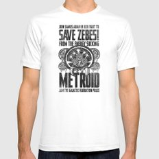 Save Zebes! Metroid Geek Art Vintage Poster White MEDIUM Mens Fitted Tee