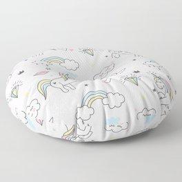 Unicorn & Rainbows Light Pink Floor Pillow