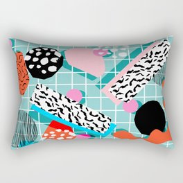 The 411 - wacka abstract memphis grid throwback retro cool neon 80s style minimal mixed media Rectangular Pillow