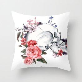 Roses Skull - Death's head Throw Pillow