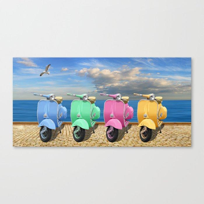 Vespa scooter in bright colors Canvas Print