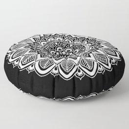 Black and White Boho Mandala Floor Pillow
