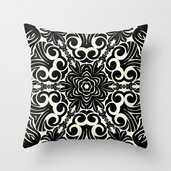 Black Flower Kaleidoscope Print Throw Pillow by Bee :) Society6