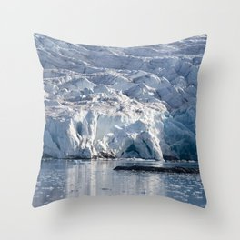 Ice art by nature on glacier and in ocean Throw Pillow