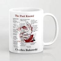bukowski Mugs featuring Charles Bukowski by brett66