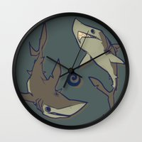 sharks Wall Clocks featuring Sharks by Anya McNaughton