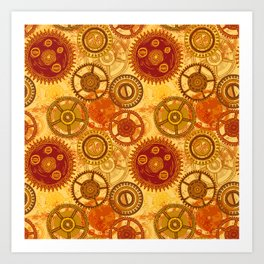 Vintage seamless pattern with gears of clockwork on aged paper background. Art Print