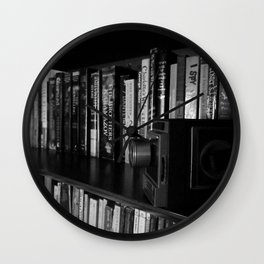 CHARLOTTE'S BOOKSHELF 3 IN BLACK AND WHITE Wall Clock