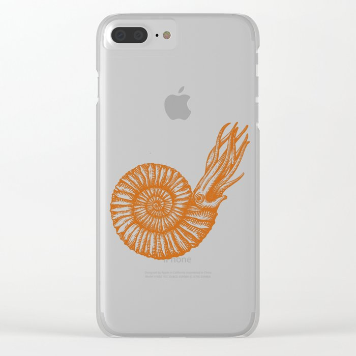 AMMONITE COLLECTION ORANGE Clear iPhone Case