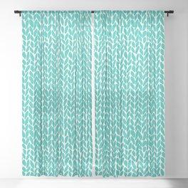 Hand Knit Aqua Sheer Curtain