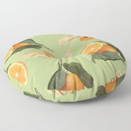 Oranges and Physalis Fruits Pattern on green Background Floor Pillow