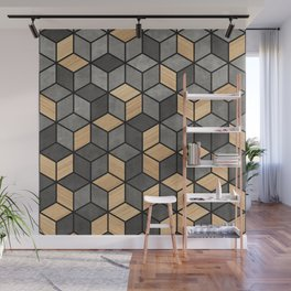 Concrete and Wood Cubes Wall Mural