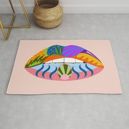 Lips with bold abstract patterns, retro pop art illustration Rug