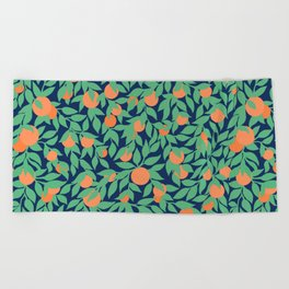 Oranges and Leaves Pattern - Navy Blue Beach Towel