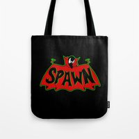 spawn Tote Bags featuring Hell's monster by Buby87