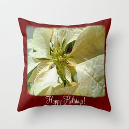 Pale Yellow Poinsettia 1 Happy Holidays P5F1 Throw Pillow