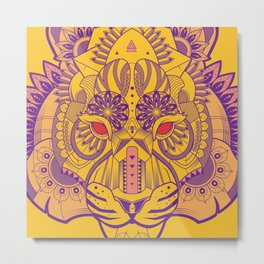 Zentangle Tiger  Metal Print