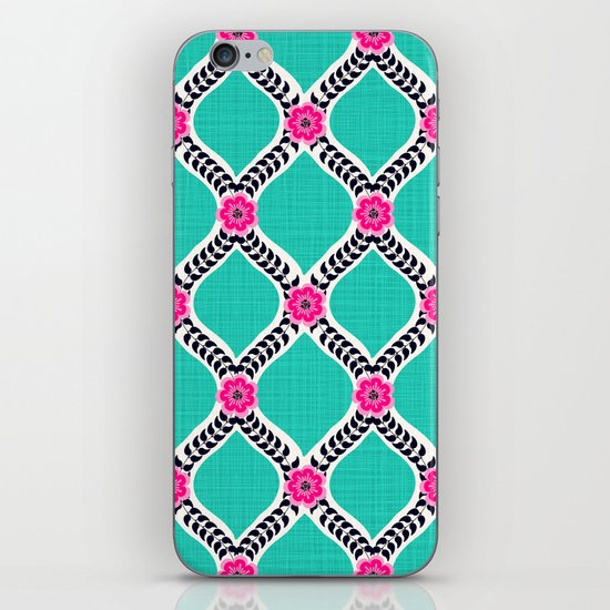 Turquoise and Pink Floral Ogee Pattern iPhone & iPod Skin
