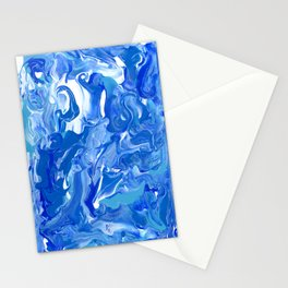 Blue Wave - Abstract Ocean Painting Stationery Cards
