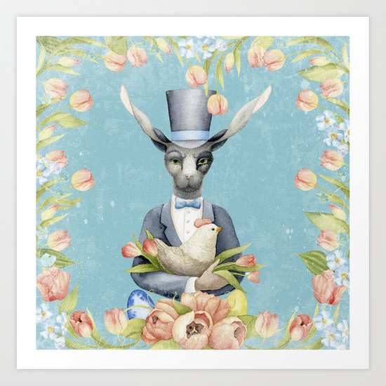 Beautiful Floral Flowers Animal Easter Bunny  on #Society6 Art Print
