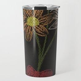 Flowers on blackpaper Travel Mug