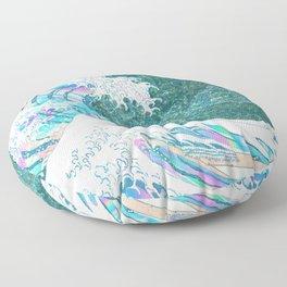 the great iridescent wave (green) Floor Pillow