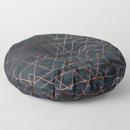 Rose Gold Pink Geometric Modern Pattern Trendy Black Marble Floor Pillow
