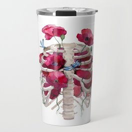Rib cage with poppy Travel Mug
