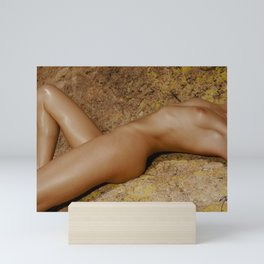 1755 Apache Trail Nude - Skin N Rock ~ SurXposed ~ Classic Feminine Bodyscape Naked Woman on Rocks Mini Art Print