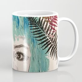 Blue-haired girl with leaves Coffee Mug