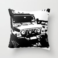 jeep Throw Pillows featuring Jeep by Bwoodstockfoto