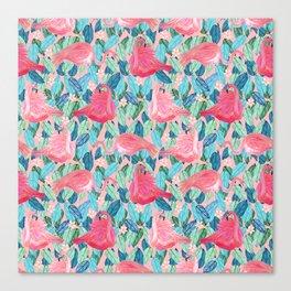 Tropical Flamingo watercolor Canvas Print