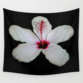 White Hibiscus Isolated on Black Background Wall Tapestry
