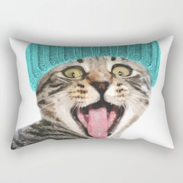 Cat with hat illustration Rectangular Pillow