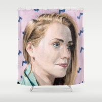 sam smith Shower Curtains featuring Sam Sketch by Kim Leutwyler