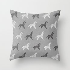 Origami Unicorn Grey Throw Pillow