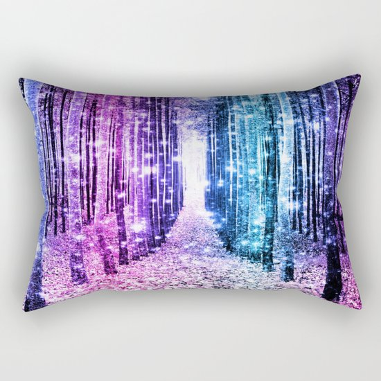 Magical Forest : Aqua Periwinkle Purple Pink Ombre Sparkle Rectangular Pillow