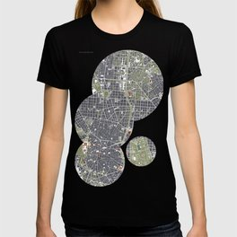Madrid city map engraving T-shirt