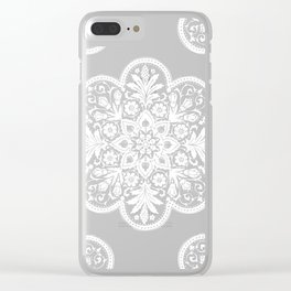 Floral Doily Pattern | Lace Crochet Doilies | Needle Crafts | Black and White | Clear iPhone Case