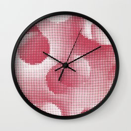 Vintage 1930s Textile Design Pattern - Red Wall Clock
