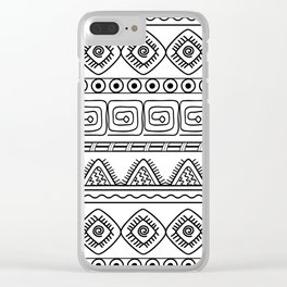 ethnic pattern black & white Clear iPhone Case