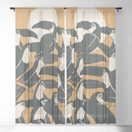 Black birds Sheer Curtain