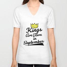 kings are born in september birthday t-shirts Unisex V-Neck