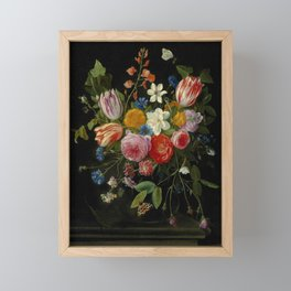 """Jan van Kessel de Oude """"Tulips, peonies, chicory, carnations, cherry blossom and other flowers"""" Framed Mini Art Print"""