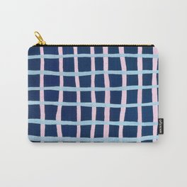 Pink and Blue Grid Carry-All Pouch