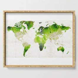 Green World Map Wall Art - Sharon Cummings Serving Tray