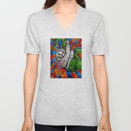 Happy Sloth Unisex V-Neck