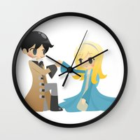 captain swan Wall Clocks featuring OUAT - Captain Swan by Choco-Minto