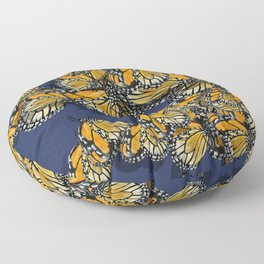 Butterfly Frenzy Spring Navy Floor Pillow