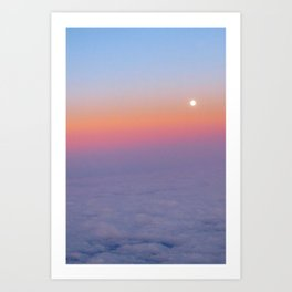 Sunset above the clouds Art Print